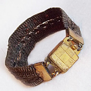 Wide VICTORIAN Mourning Woven Hair Bracelet