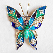 Fabulous PLIQUE A JOUR Butterfly 800 Silver Vintage Pin Brooch
