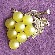 Moonglow Lucite GRAPES Vintage Pin Brooch