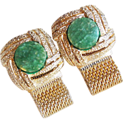 Vintage Green Stone Mesh Wrap Cufflinks