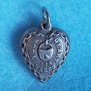 1940s STERLING PUFFY HEART For Keeps Vintage Charm