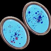 Fabulous REBAJES Signed Copper & Enamel Vintage Earrings