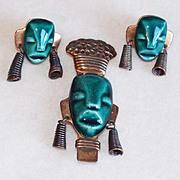 Fabulous ELZAC Copper & Ceramic Vintage Pin Brooch Set