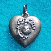 Vintage 1940s Sterling MARINE Puffy Heart Charm