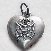 Vintage 1940s Sterling ARMY Puffy Heart Charm