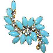 Fabulous Large Aqua Blue Glass & Rhinestone Brooch