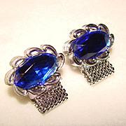 SOLD Super Cool BLUE GLASS Mesh Wrap Vintage Estate Cufflinks