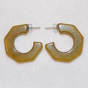 Gorgeous BAKELITE Faceted Hoop Pierced Vintage Earrings