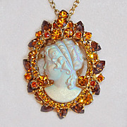 Very Special D&E JULIANA Cameo Rhinestone Vintage Pendant Necklace