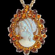 Very Special D&E JULIANA Cameo Rhinestone Vintage Pendant Necklace