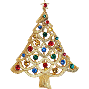 Gorgeous COLOR RHINESTONE Christmas Tree Vintage Pin Brooch