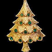 Gorgeous Vintage GREEN RHINESTONE CHRISTMAS TREE Brooch