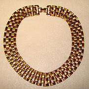 Bold Vintage 1980's GOLD COLORED Collar Style NECKLACE