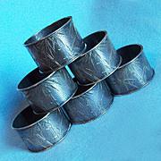 Antique 900 SILVER Engraved Bamboo Design Napkin Rings