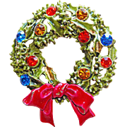 Vintage CHRISTMAS WREATH Signed Art Pin Brooch