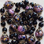Gorgeous VENETIAN GLASS Wedding Cake Black Vintage Necklace