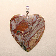 Fabulous HUGE HEART Carved and Polished Stone Pendant