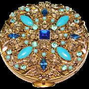 Fabulous Vintage BLUE JEWELED COMPACT - Unused