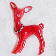 Red CHRISTMAS DEER Early Plastic Vintage Pin Brooch