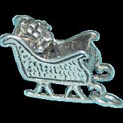 Sterling SANTA'S SLEIGH Vintage Estate Charm