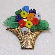 SALE PENDING Art Deco WIRED GLASS FLOWERS Basket Dress Clip