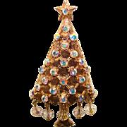 MYLU Signed Vintage AURORA CRYSTAL DANGLES Rhinestone CHRISTMAS TREE Brooch