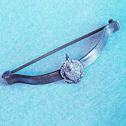 Gorgeous ANTIQUE STERLING Signed Posy Holder Pin Brooch