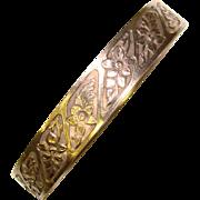 Signed Vintage STERLING Wide Patterned BANGLE Bracelet