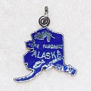 Sterling ALASKA Blue Enamel Vintage Estate Charm