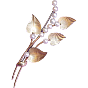 Gorgeous KREMENTZ Signed Cultured Pearl Pin Brooch