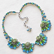 SOLD Fabulous HOBE Signed Blue & Green Bi-Color Stones Rhinestone Necklace