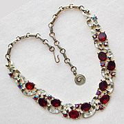 SOLD Fabulous LISNER Signed Vintage RED RHINESTONE Necklace