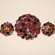 Fabulous Vintage COLOR BURST RHINESTONE Brooch & Earrings SET