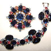 Spectacular Vintage BLUE RHINESTONE Brooch & Bracelet SET