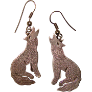 Awesome STERLING SILVER Howling Dog Earrings