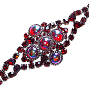 Fabulous HUGE RED RHINESTONE Vintage Estate Bracelet