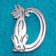STERLING CAT Initial D Signed Mexican Vintage Pin Brooch
