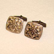 Awesome STERLING SILVER Vintage Hand Engraved CUFFLINKS