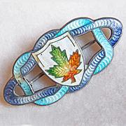 Small ANTIQUE STERLING & ENAMEL Maple Leaf Pin Brooch