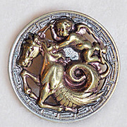 Fabulous Antique ANGEL & MYTHICAL BEAST Picture Story Button