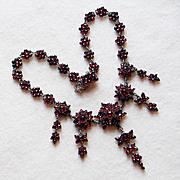 Fabulous Victorian Bohemian Rose Cut Garnet Antique Necklace