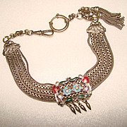 Fabulous ALBERTINA Antique Enameled WATCH CHAIN
