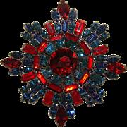 Unsigned SCHREINER Huge Vintage RED & BLUE RHINESTONE Estate Brooch Pendant