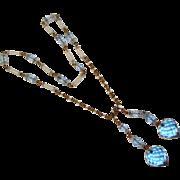Fabulous ART DECO Blue Crystal Glass LARIAT NECKLACE