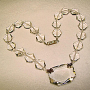 Fabulous ART DECO Faceted CRYSTAL GLASS Czech Signed NECKLACE