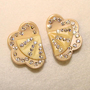 Gorgeous THERMOPLASTIC & RHINESTONE Vintage Estate Clip Earrings
