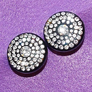 Fabulous BLACK PLASTIC & RHINESTONE Vintage Estate Earrings