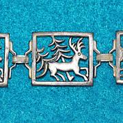 Awesome FOREST Design Vintage DEER & Tree Panel Bracelet