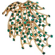 Fabulous HUGE GREEN RHINESTONE Vintage Estate Pin Brooch