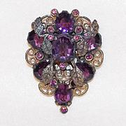 ART DECO Purple Glass & Rhinestone Vintage Dress Clip